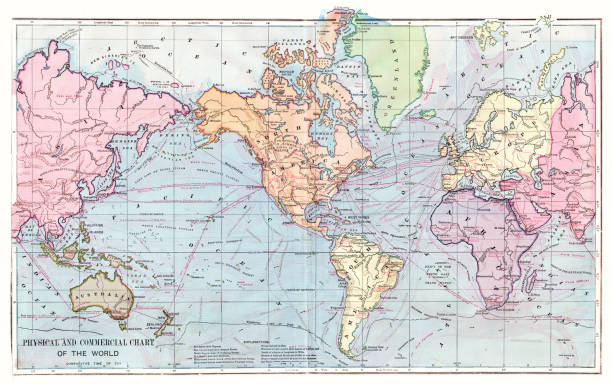 world map 1886 - world map stock photos and pictures