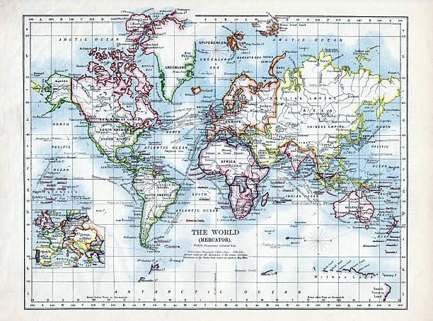 World Map 1895 stock photo
