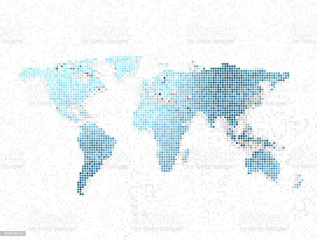 World map 3d pixels stock photo