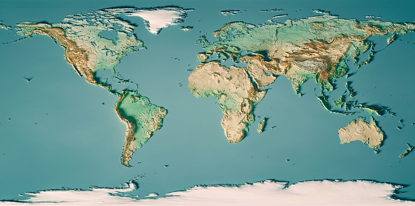 3D Render of a Topographic World Map. Made with Natural Earth. URL of source data: http://www.naturalearthdata.com Relief texture SRTM data courtesy of NASA. URL of source image: http://reverb.echo.nasa.gov The source data is in the public domain.