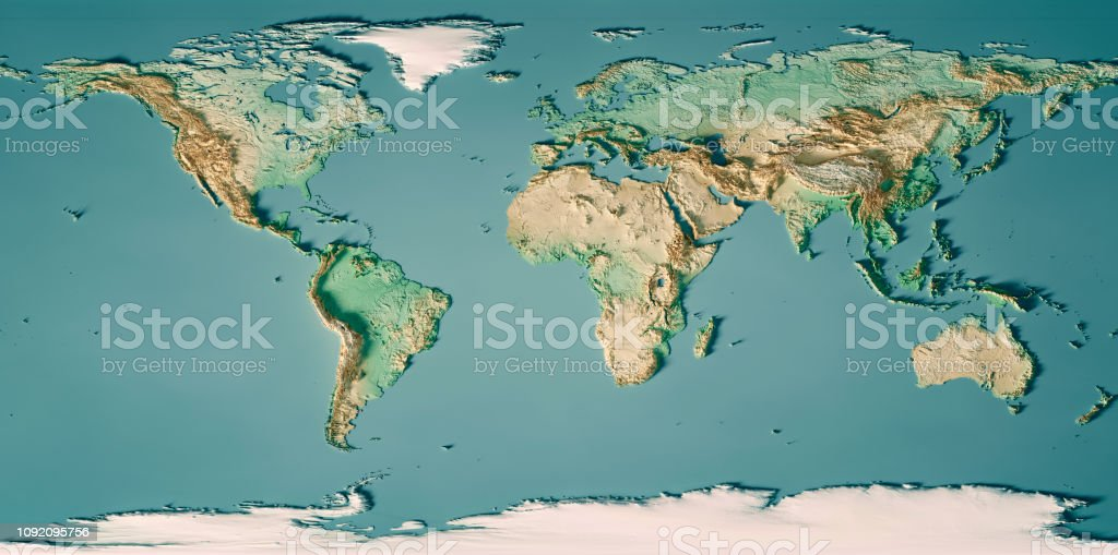 World Map 3D Render Topographic Map Color stock photo