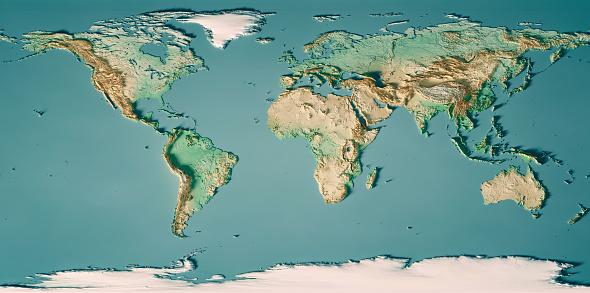 세계 지도 3d 렌더링 지형 지도 색상 0명에 대한 스톡 사진 및 기타 이미지