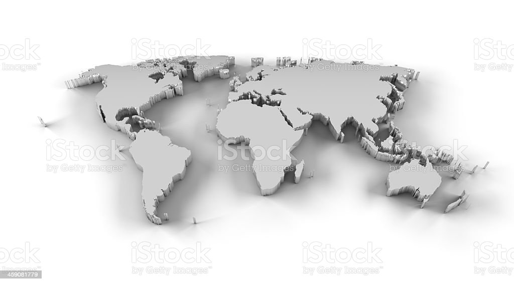 World map 3D silver with clipping path stock photo