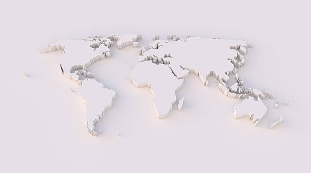 World map 3D with clipping path stock photo