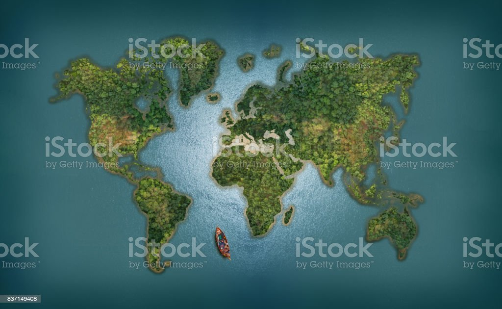 World Map abstract background with forest and sea stock photo