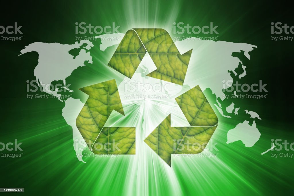 World map and creative leaf recycle symbol on abstract green motion world map and creative leaf recycle symbol on abstract green motion blurred background royalty free gumiabroncs Images