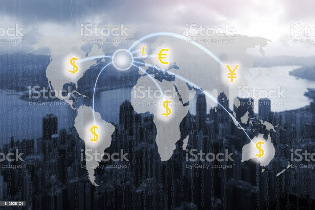 World map and digital money transfers concept stock photo
