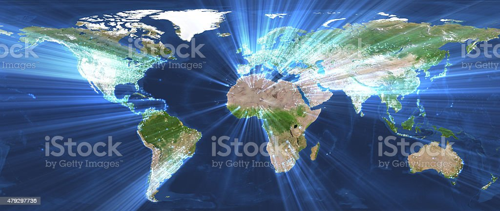 world map and glowing stock photo