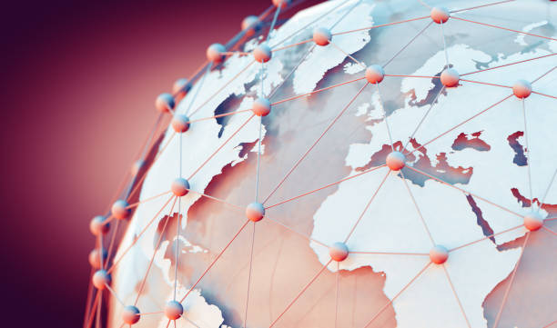 World map and internet commerce. stock photo