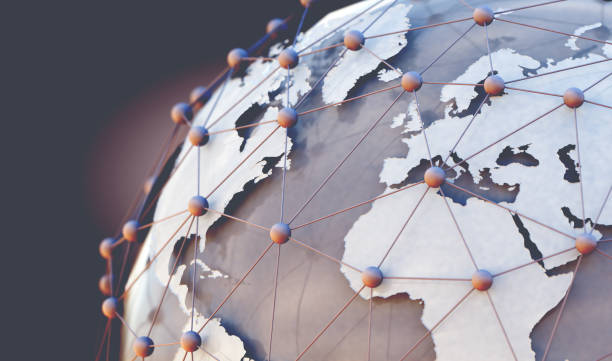 World map and internet commerce.3d illustration stock photo