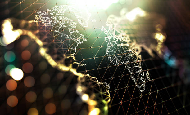 World map and networking concept stock photo