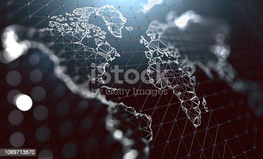 Logistics and international shipments. Company communication around the world. Big data management.3d illustration
