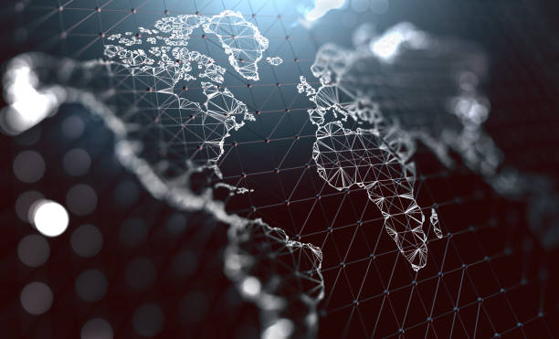 world map and networking concept - globale foto e immagini stock