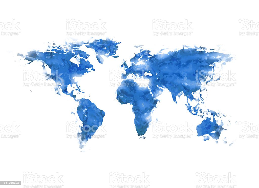 World map blue paint stock photo