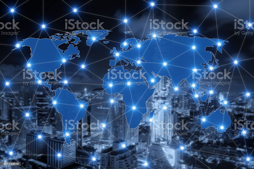 World map connection and blurred city of business centre. stock photo