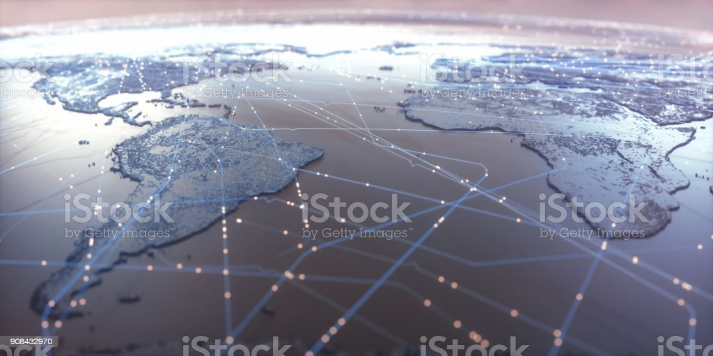 World Map Connectivity - foto stock