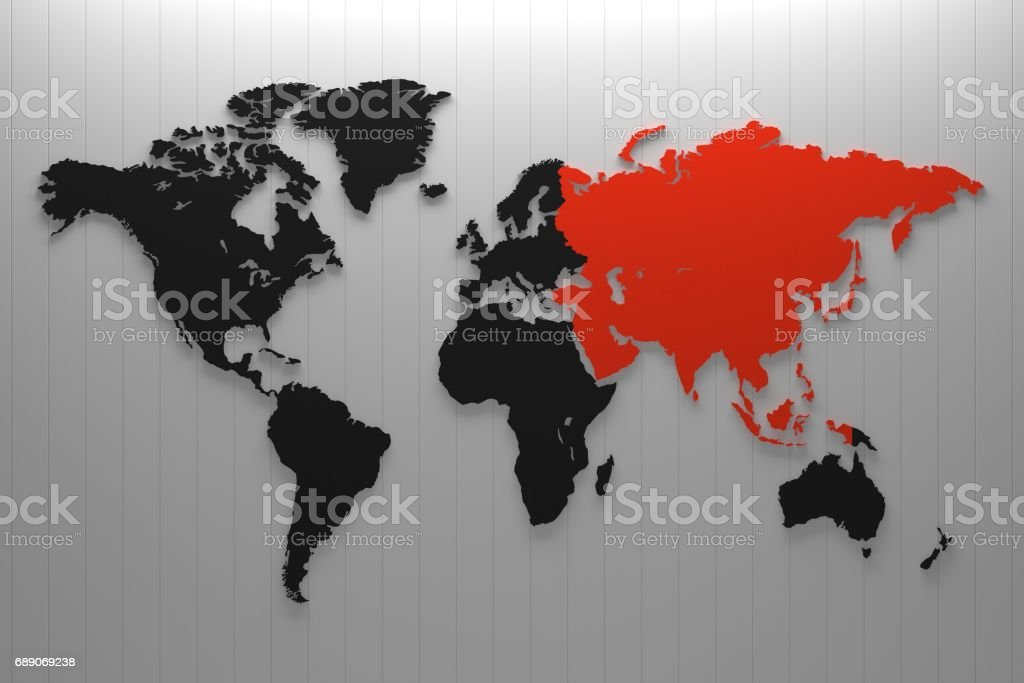 World map continent on the color Wall panel. stock photo
