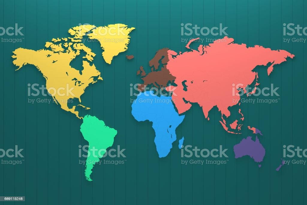 World Map Continent On The Color Wall Panel Stock Photo More