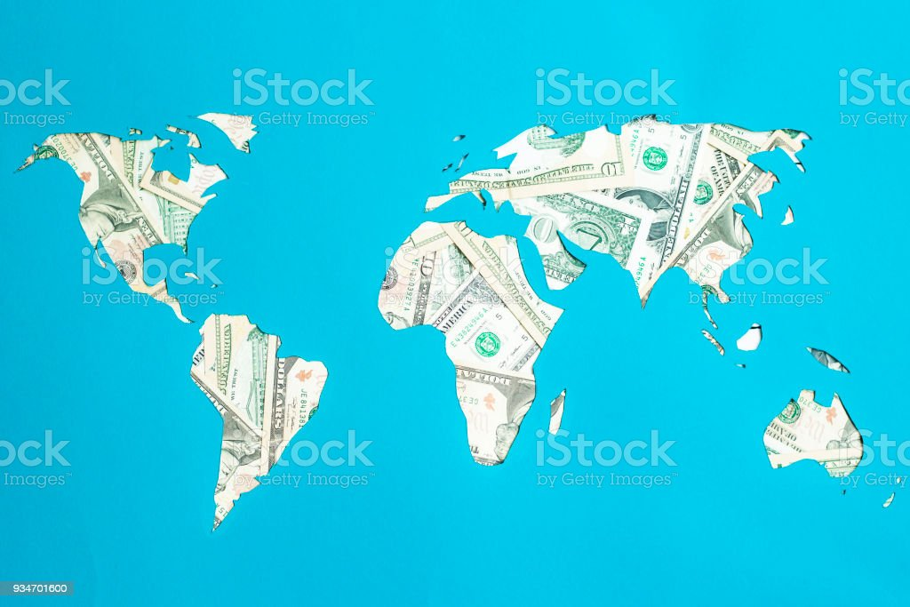 World Map Continents Are Laid Out Of Dollars Capitalism Consumer ...