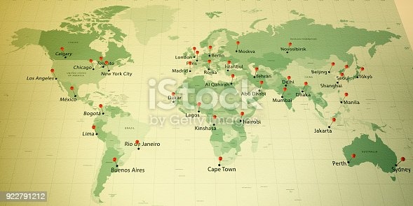 istock World Map Countries Cities Straight Pin Vintage 922791212