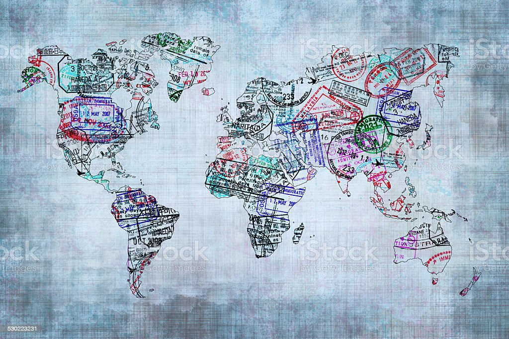 World map created with passport stamps travel concept stock photo world map created with passport stamps travel concept royalty free stock photo gumiabroncs Images