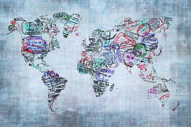 World map created with passport stamps, travel concept stock photo