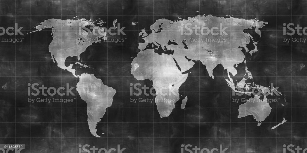 world map draw on chalkboard stock photo