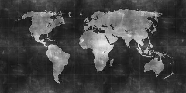 world map draw on chalkboard - continent geographic area stock photos and pictures