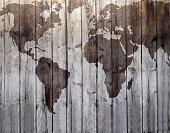 istock World map drawn on canvas wood effect 486906894