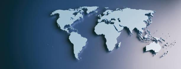 Weltkarte flache, leere Kontinente vor blauem Hintergrund. 3D-Illustration – Foto
