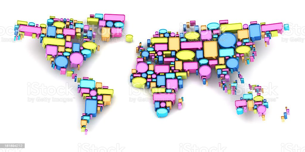World map formed by speech bubbles royalty-free stock photo