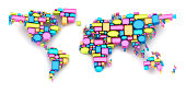 istock World map formed by speech bubbles 181894212