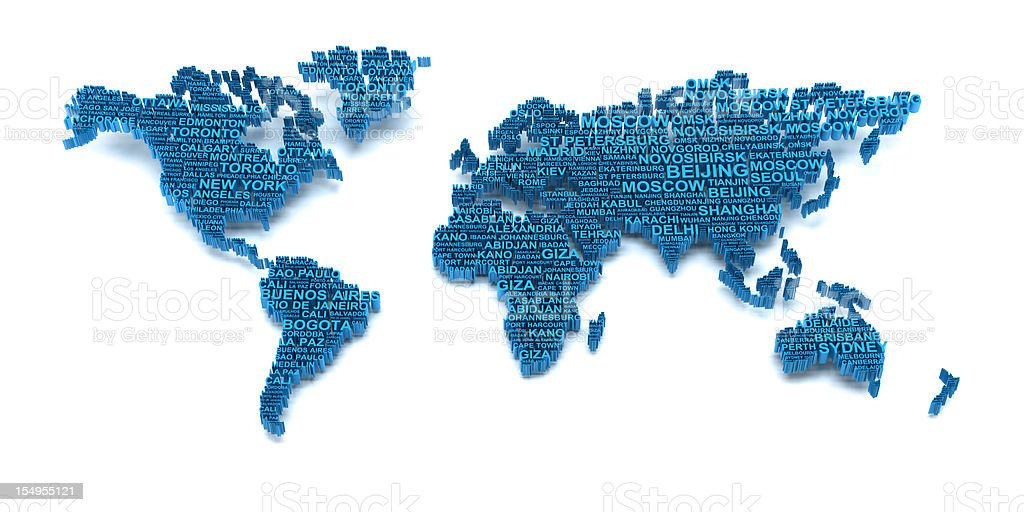 World map formed by words stock photo