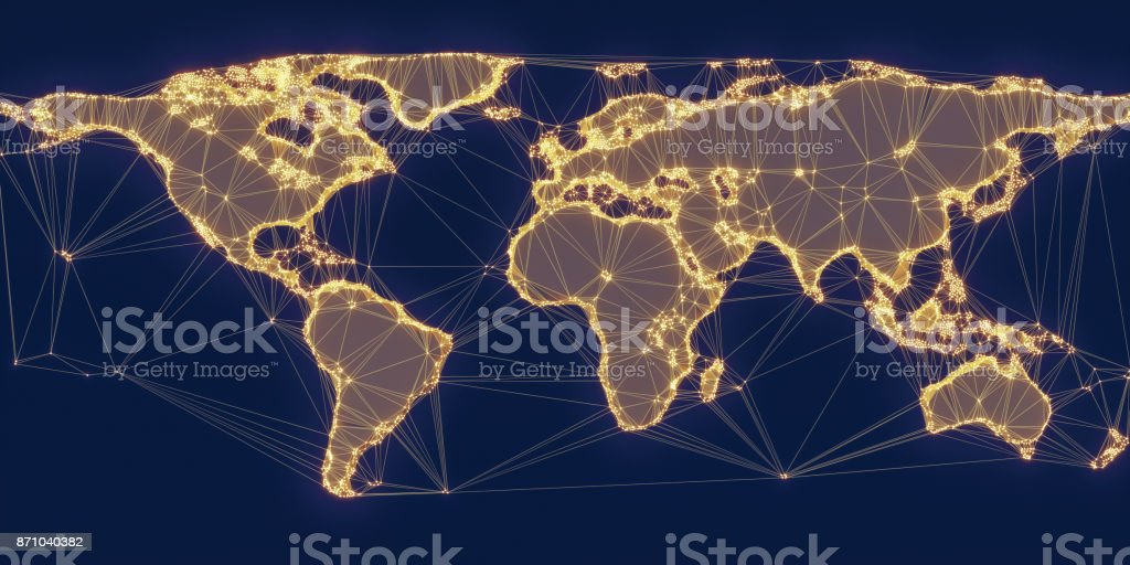 World Map Global Network stock photo
