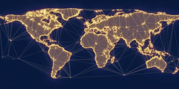 welt karte globales netzwerk - ec karte stock-fotos und bilder