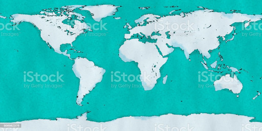 World Map Hand Drawn Illustrated Brushstrokes Geographical