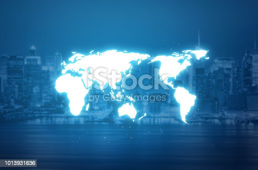 istock World map hologram over a blurred city background 1013931636
