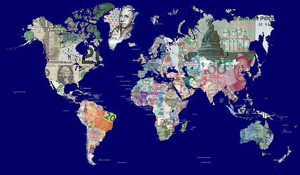 world map in currencies - bruto binnenlands product stockfoto's en -beelden
