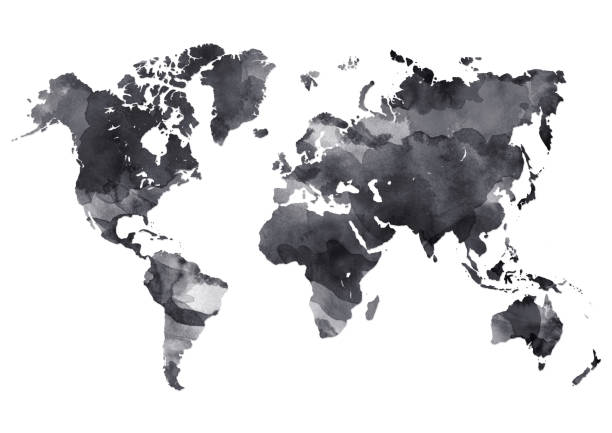 World map in digital ink painted stock photo