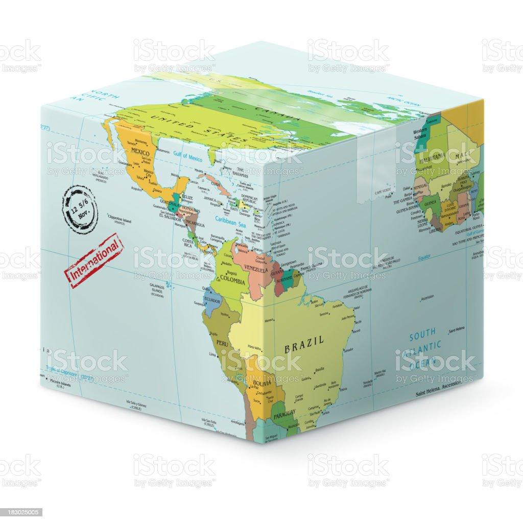World Map in shape of international shipping stock photo