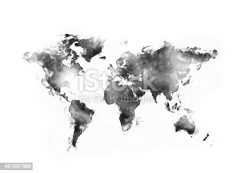 istock World map ink splatter 491087988