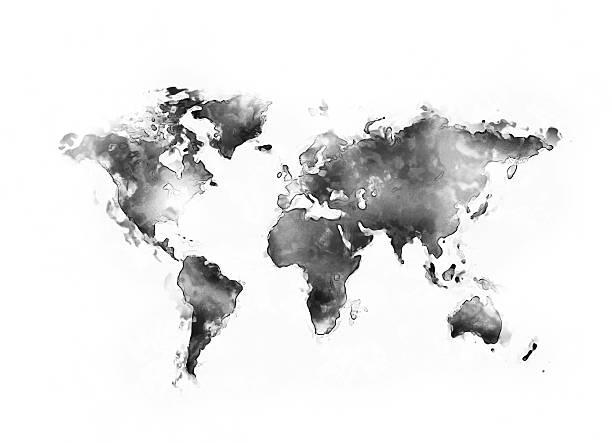 weltkarte mit tinte splatter - landkartenillustrationen stock-fotos und bilder