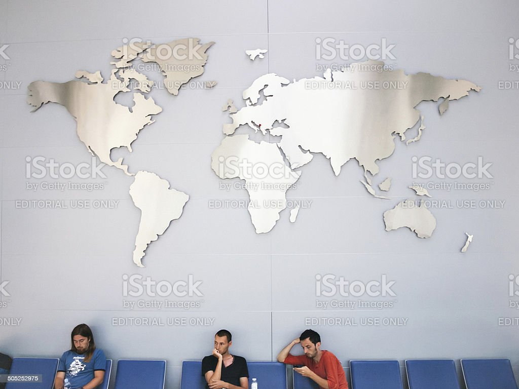 World map inside of the airport in Podgorica, Montenegro stock photo