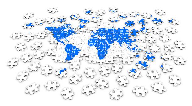 World map jigsaw stock photo