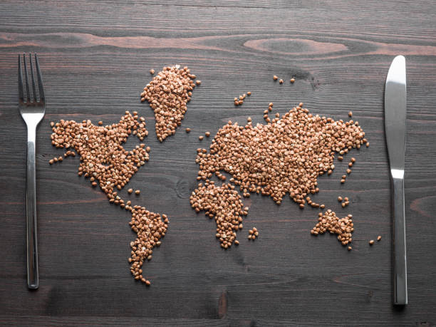 World Map Made Of Buckwheat Grain Seeds On Wooden Desk Buckwheat grain seeds are formed into world map on brown wooden desk.Knife and fork are placed on east and west sides.No people are seen in frame.Shot with a medium format camera from a high angle point in close up.Horizontal framing. global village stock pictures, royalty-free photos & images