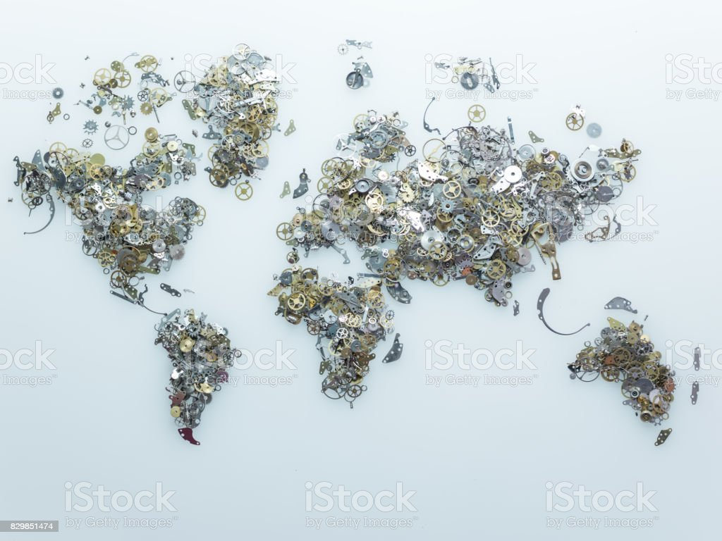 World Map Made Of Clockworks On Blue Background stock photo
