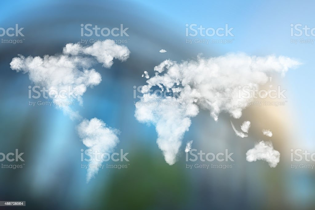 world map made of clouds against European Parliament stock photo