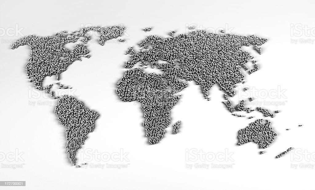 world map made of concret blocks stock photo