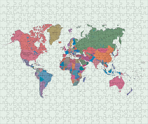 Royalty free world map puzzle map jigsaw puzzle pictures images and world map made of jigsaw pieces stock photo gumiabroncs Choice Image
