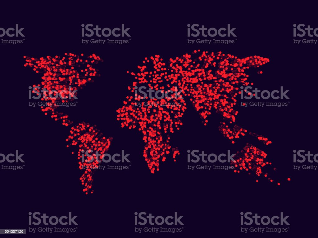 World map made of red dot. 3D rendering stock photo